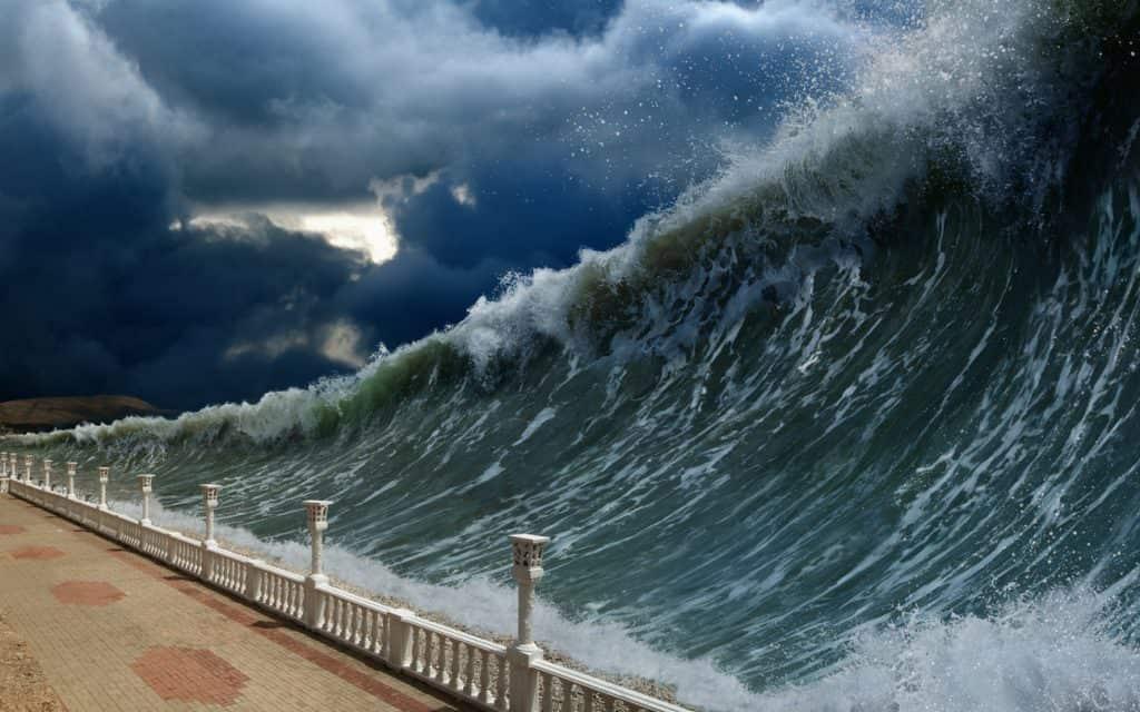 Tsunami image representing the amount of bad debt coming after the coronavirus pandemic
