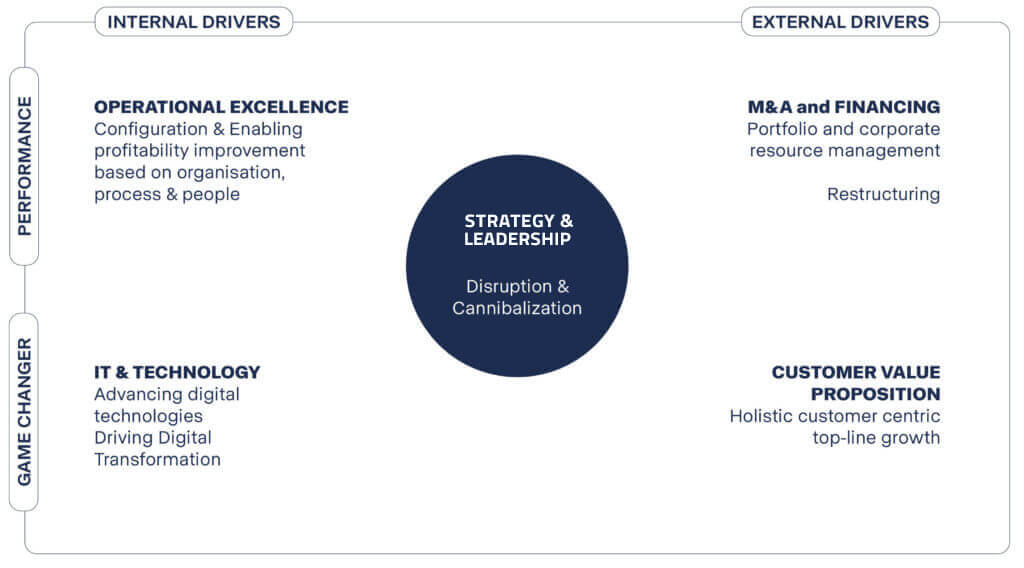 Strategy and leadership diagram for disruption and innovation. The 5 levers Leverage Experts take into account when creating a strategy for a firm.